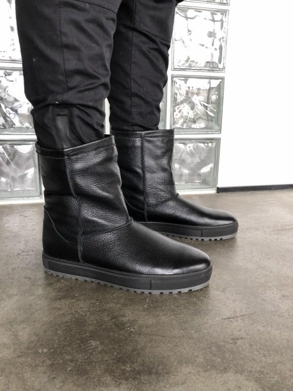 Угги мужские  №546-2 черная кожа флотар (сэт-2 черн)