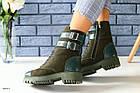 Зимние замшевые ботинки цвета хаки