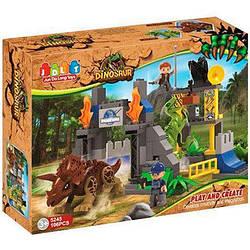 """Конструктор 5245 JDLT """"Парк динозавров, строение, фигурки""""106 деталей,(аналог LEGO Duplo)"""