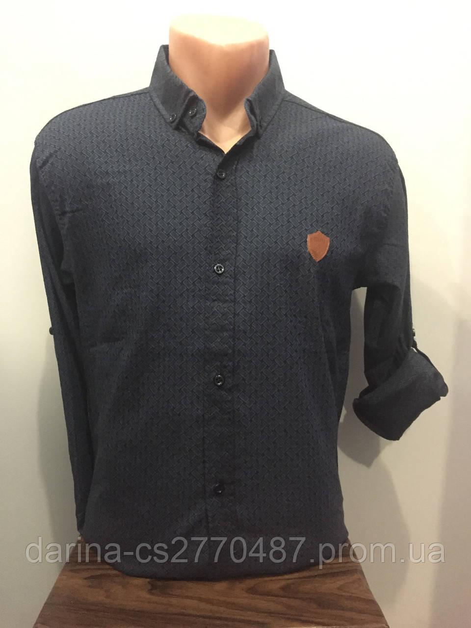 Мужская рубашка стрейч на пуговицах S-2XL