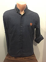 Мужская рубашка стрейч на пуговицах S-2XL, фото 1