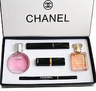 Подарочный набор парфюмерии Chanel Present 5 в 1 Реплика Шанель прекрасный вариант подарка для подруги, мамы