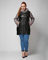 Комбинированная куртка, эко кожа и пальтовая ткань