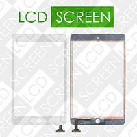 Тачскрин (touch screen, сенсорный экран) для планшетов Apple iPad Mini, iPad Mini 2 Retina, белый, с защитным стеклом