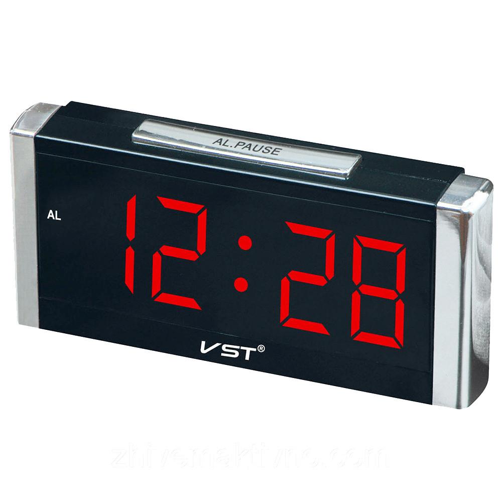 Настольные часы VST-731-1 (Красная подсветка)  + ПОДАРОК: Настенный Фонарик с регулятором BL-8772A