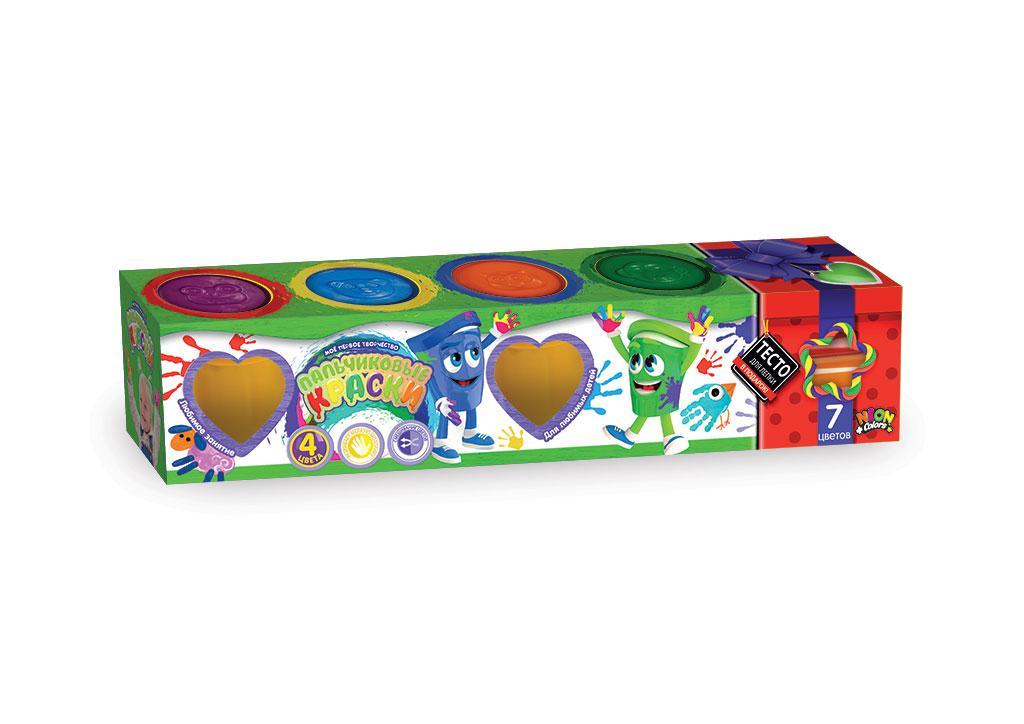 Пальчиковые краски в баночках, набор 4 цвета + Подарок тесто для лепки (рус)