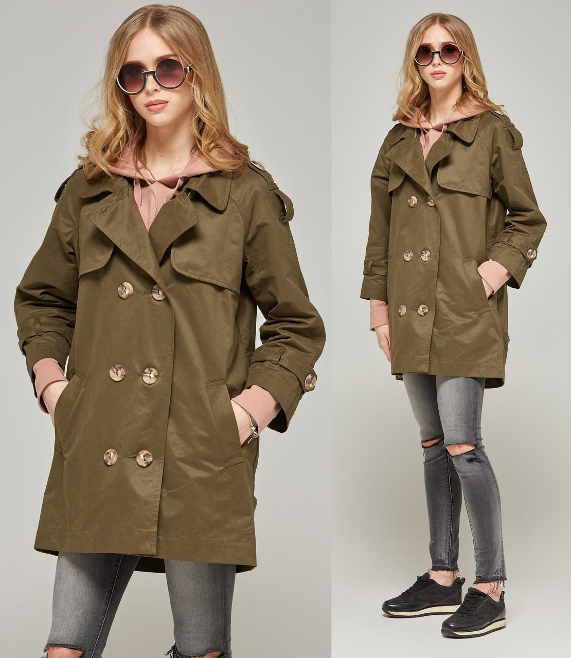 Легкое пальто женское демисезонное осеннее коттоновое