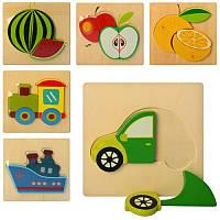 """Деревянная игрушка """"Пазлы"""", фрукты, транспорт, 6 видов, в пакете"""