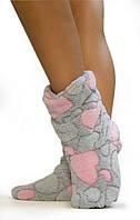 Теплые махровые тапочки сапожки серые с розовым