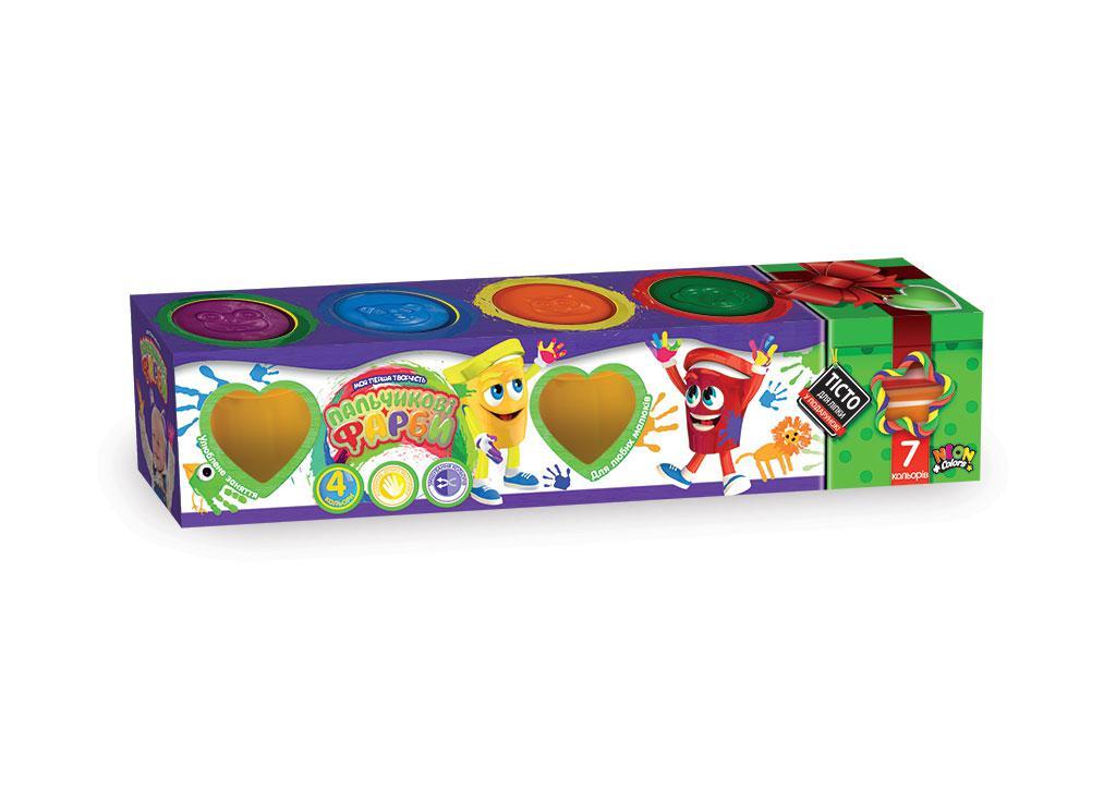 Пальчиковые краски в баночках, набор 4 цвета + Подарок тесто для лепки (укр)