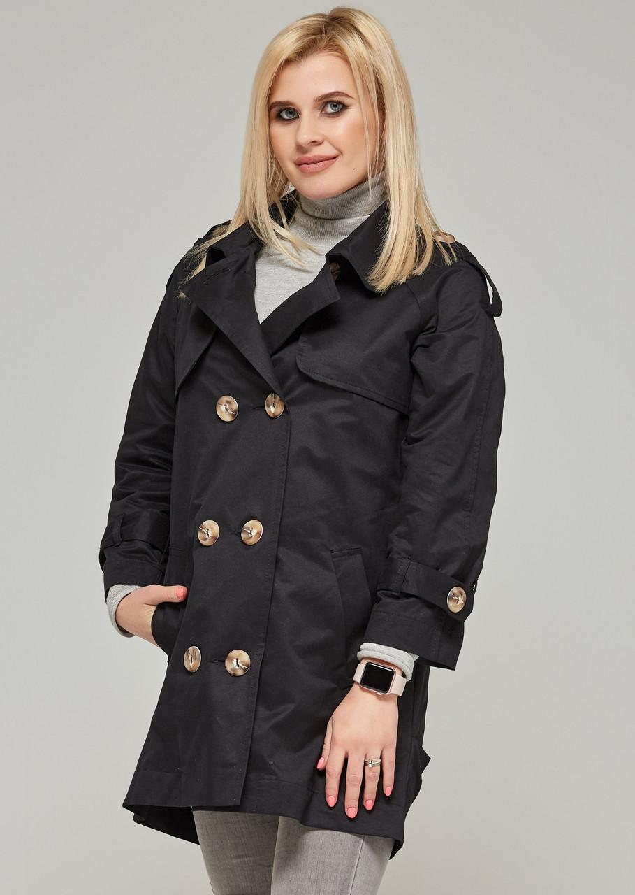 Черное пальто демисезонное женское легкое осеннее коттоновое