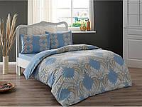 Постельное белье Tac ранфорс Dulce mavi v01 голубой двухспального евро размера