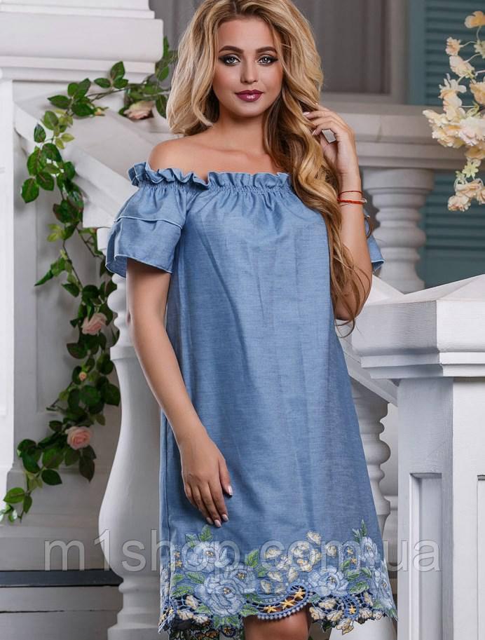 Женское платье с открытыми плечами и вышивкой (2640-2638 svt)