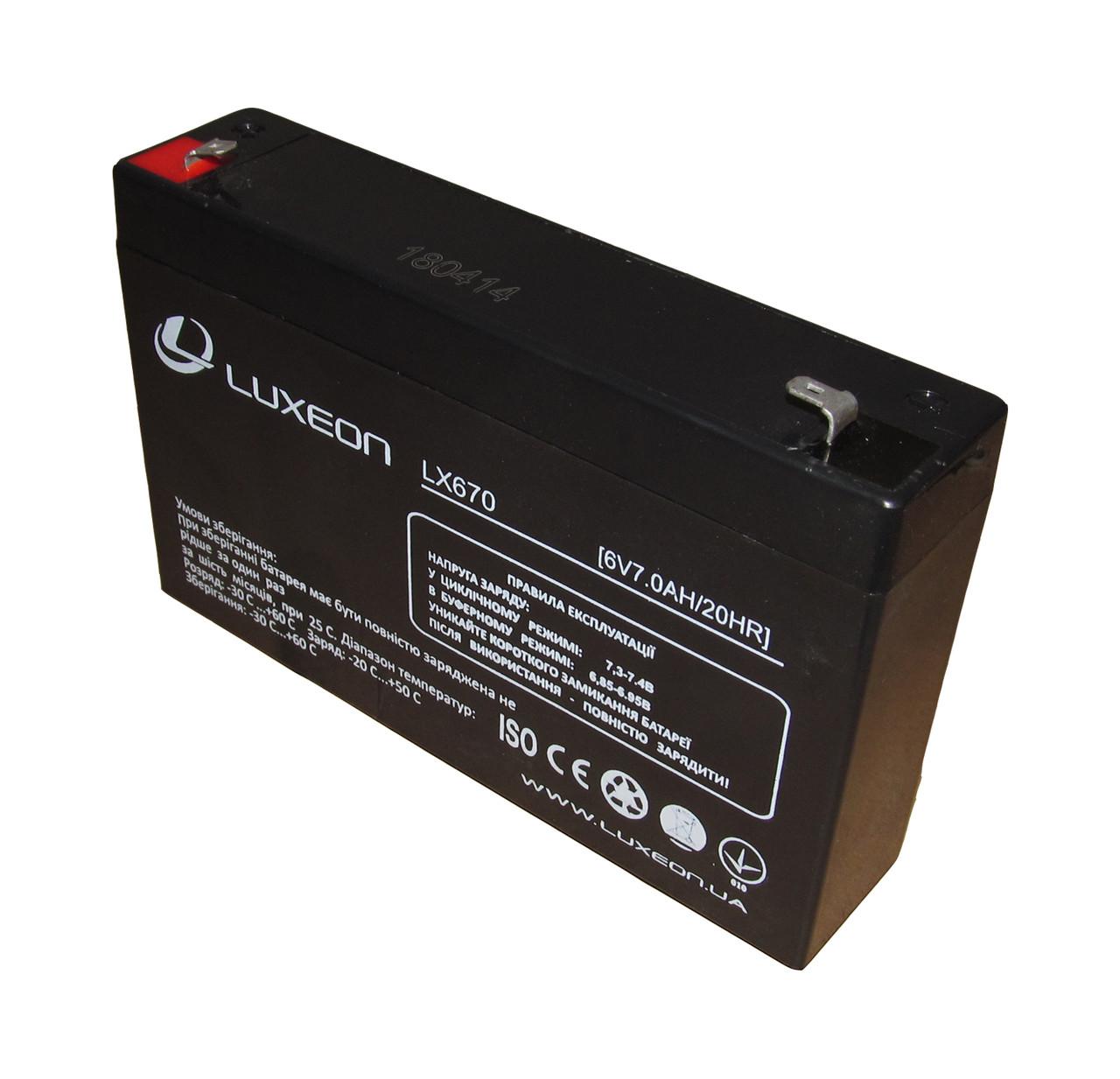 Аккумулятор AGM Luxeon LX670 6V 7,0 Ah