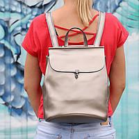 """Женский кожаный рюкзак-сумка(трансформер) """"Кристи Silver"""""""