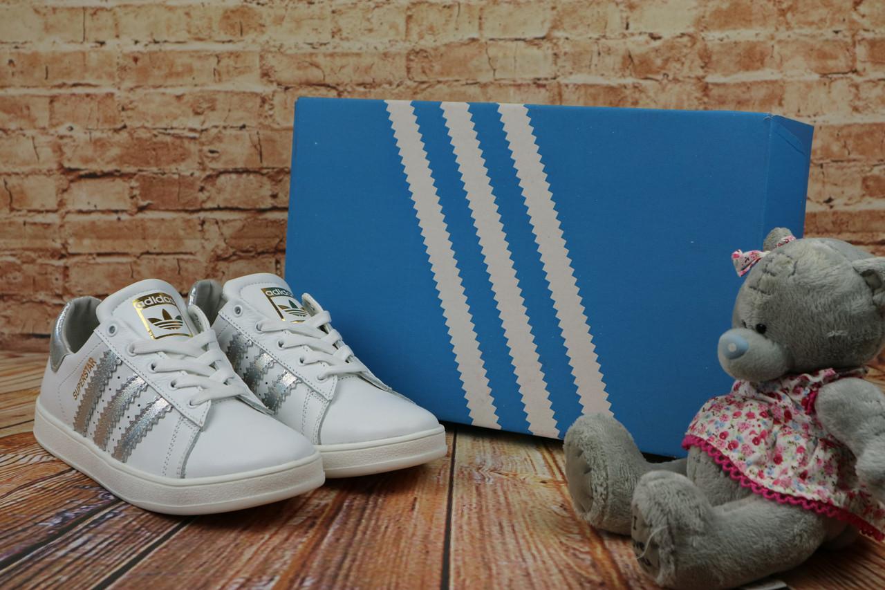 Женские  кеды Adidas SuperStar весенние осенние стильные  лучшие на каждый день (белые), ТОП-реплика