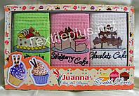 Полотенца кухонные вафельные - Juanna - Tortik - 3шт. 45*70 -100% хлопок - Турция - (kod 1206)