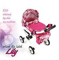 Кукольная коляска LILY TM Adbor (К20, розовый, цветы на малиновом)
