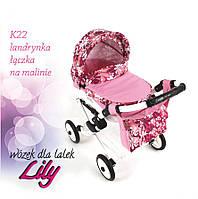 Кукольная коляска LILY TM Adbor (К22, розовый светлый, цветы новые на малиновом)