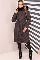 Модное пальто с меховым воротником, фото 1