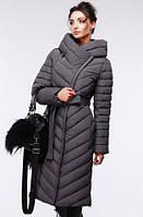 Зимнее пальто с ассиметричной застежкой