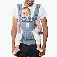 Эрго рюкзак переноска для детей от 0 до 3 лет OMNI 360 голубые ромашки + накладки на лямки