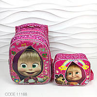 """Рюкзак школьный для девочки. """"Маша и Медведь"""" 3D + сумочка."""