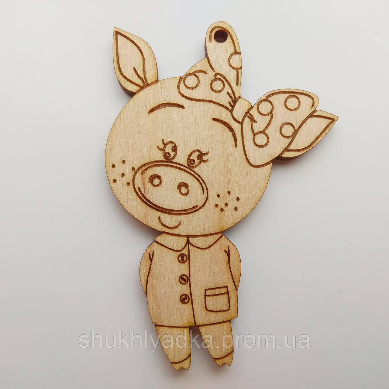 Новогодняя деревянная елочная игрушка Свинка с бантиком_деревянная заготовка_Новый год