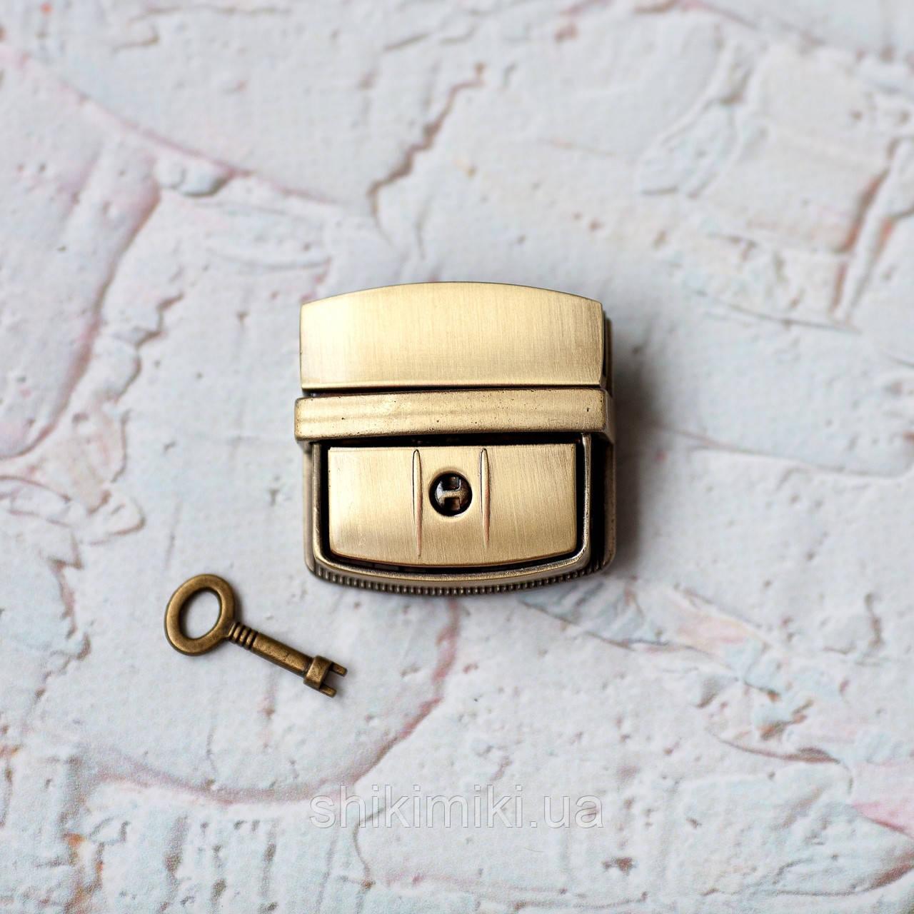 Замок для сумки с ключом ZM03-4, цвет антик