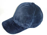 Велюровая кепка темно - синяя