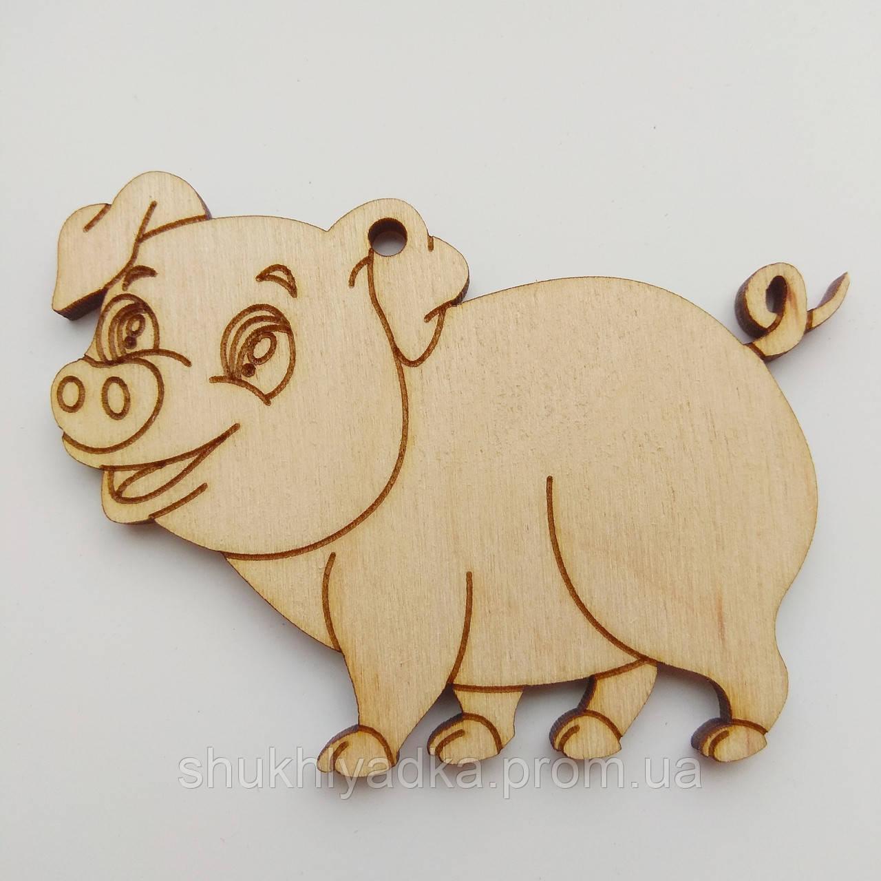 Новогодняя деревянная елочная игрушка Свинка_четыре лапки_деревянная заготовка_Новый год