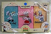 Полотенца кухонные вафельные - Merpatti - Pizza - 3шт. 45*70 -100% хлопок - Турция -