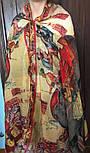 Палантин шерстяной 10497-2, павлопосадский шарф-палантин из разреженной шерсти, фото 8