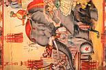 Палантин шерстяной 10497-2, павлопосадский шарф-палантин из разреженной шерсти, фото 3