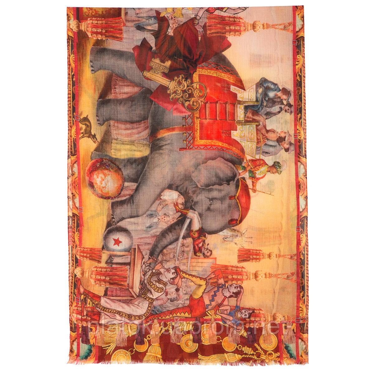 Палантин шерстяной 10497-2, павлопосадский шарф-палантин из разреженной шерсти