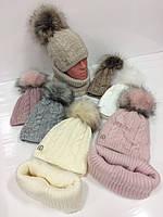 Подростковые вязаные шапки оптом на флисе c хамутом и помпоном для девочек, р.48-50, Agbo (Польша)