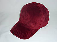 Велюровая кепка бордовая