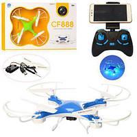 Радиоуправляемый квадрокоптер Drone с камерой и WIFI CF-888-3 Blue, фото 1