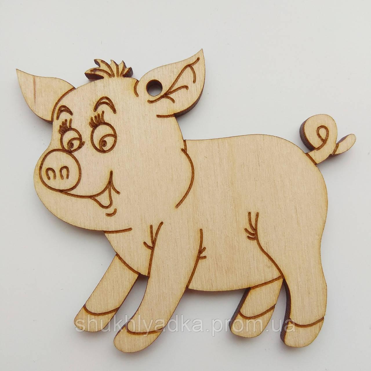 Новогодняя деревянная елочная игрушка Свинка с чубчиком_деревянная заготовка_Новый год