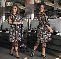 Коктейльное платье миди  / софт. сетка / Украина 36-03838, фото 1