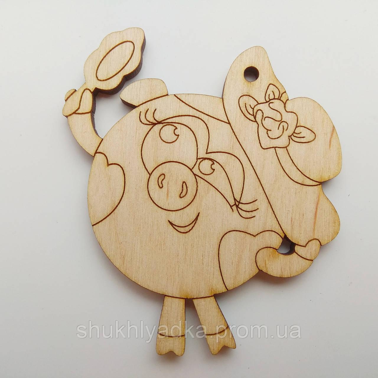 Новогодняя деревянная елочная игрушка Свинка смешарик_деревянная заготовка_Новый год