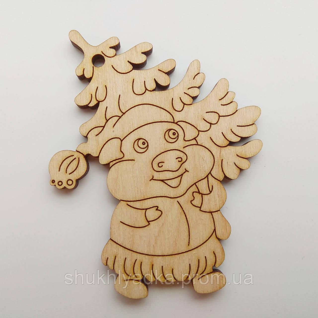Новогодняя деревянная елочная игрушка Свинка с елкой_деревянная заготовка_Новый год