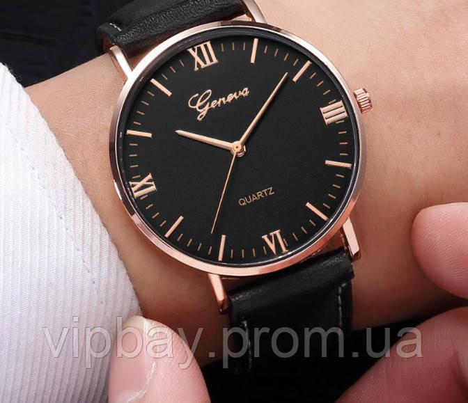 Класичний чоловічий наручний годинник чорного кольору (ч-33)