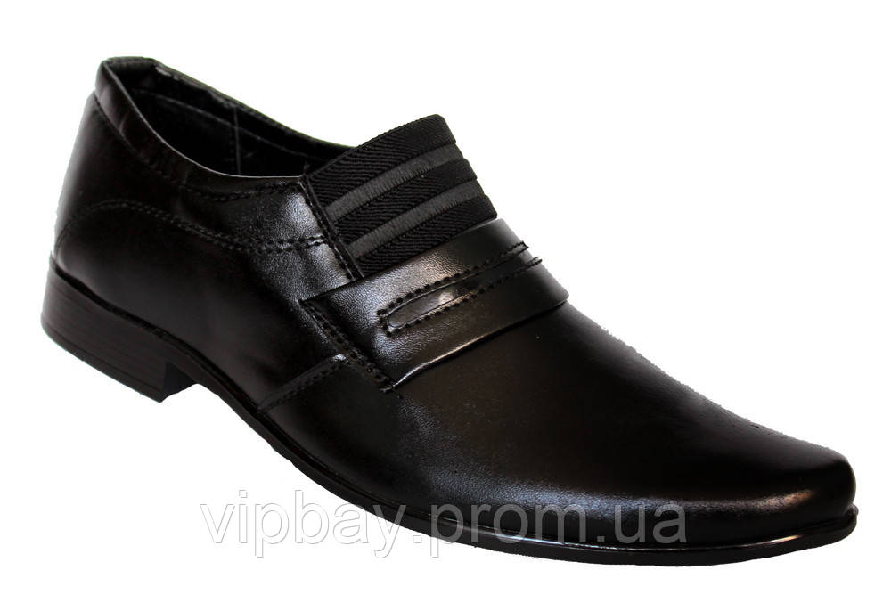 Классические мужские туфли черные на резинку (БК02)  42