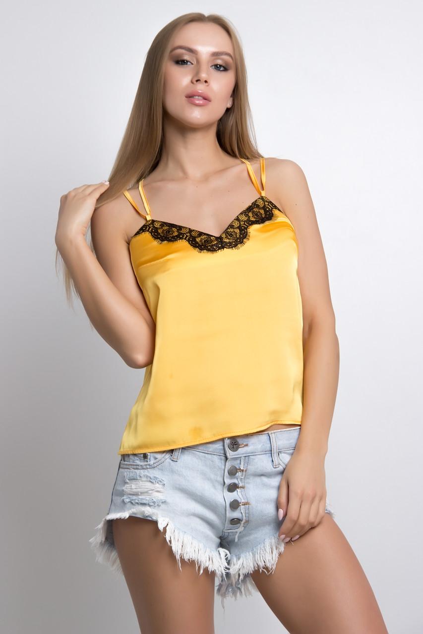 Майка шелковая с кружевом желтая