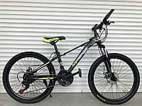 Спортивный велосипед TopRider-611 24 дюймов. Дисковые тормоза. Салатовый.