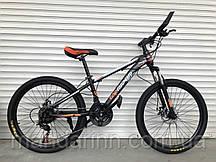 Спортивный велосипед TopRider-611 24 дюймов. Дисковые тормоза. Оранжевый