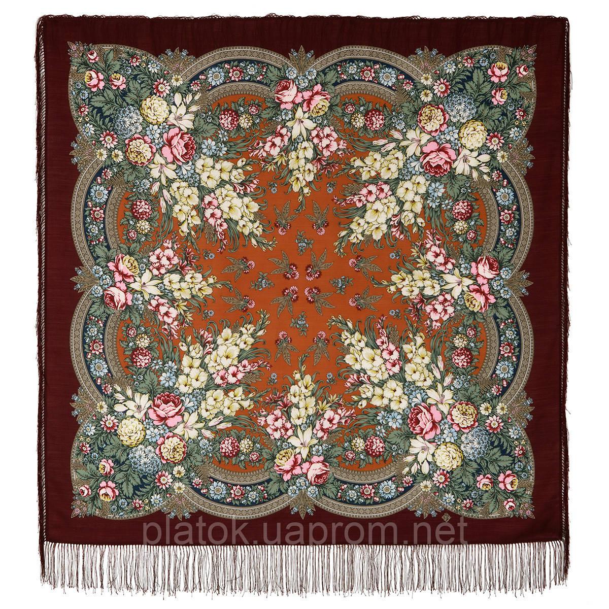 Златые дни 828-7, павлопосадский платок шерстяной с шелковой бахромой
