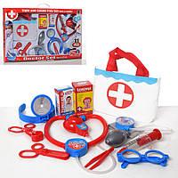 Доктор 661-203 (24шт) стетоскоп, очки,инструменты,сумка,11предм,зв,св,на бат(таб),в кор-ке,53-34-6см