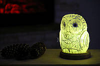 Соляная лампа Совенок зеленый, ночник HealthLamp